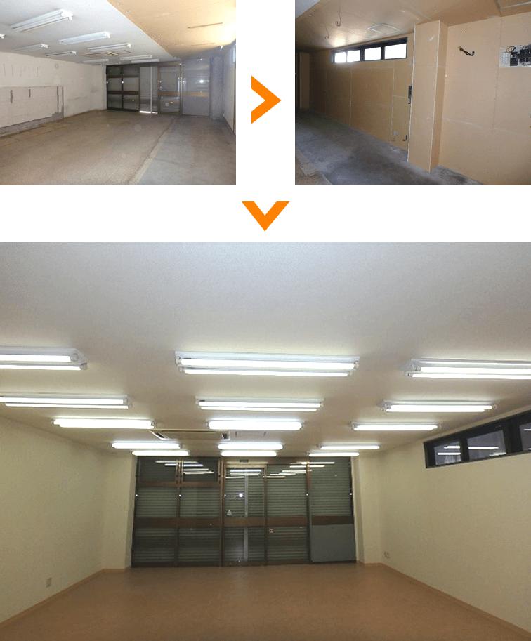 床、壁、天井を全てリニューアル