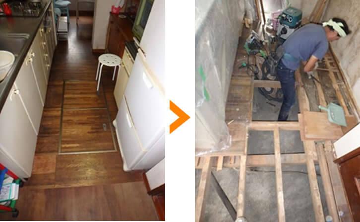キッチンの床張り替え工事