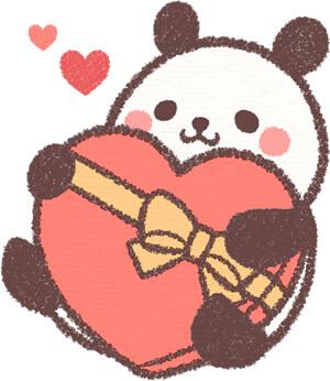 バレンタインチョコを持つパンダ