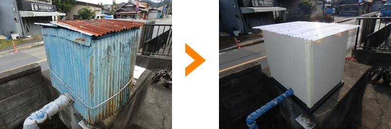 井戸ポンプの囲いを造り変え