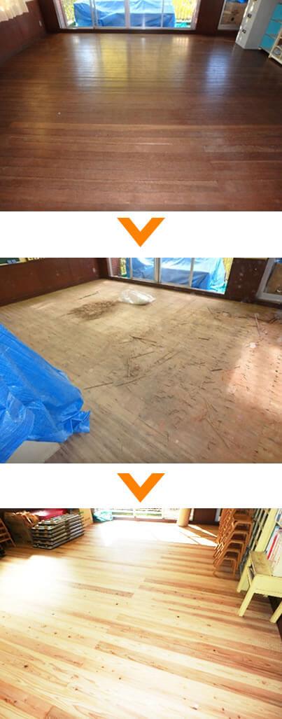 幼稚園の部屋の床張り替え工事