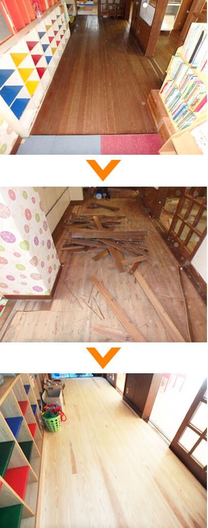 幼稚園の廊下の床張り替え工事