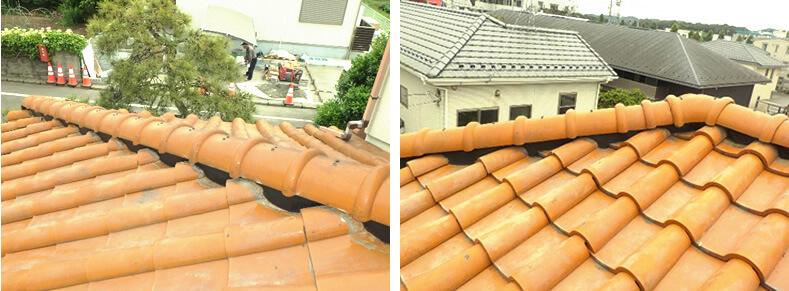 漆喰を塗り直した屋根