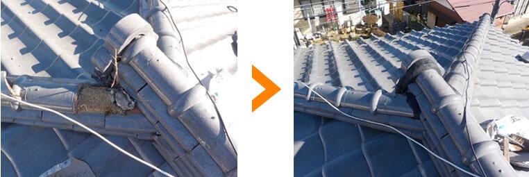 草の生えた屋根の補強工事