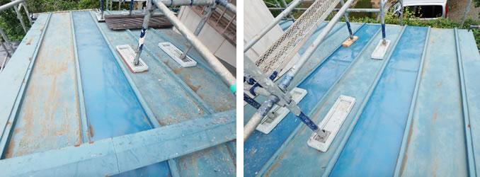 古い屋根を上張りして補修