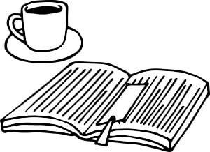 コーヒーと本のイラスト