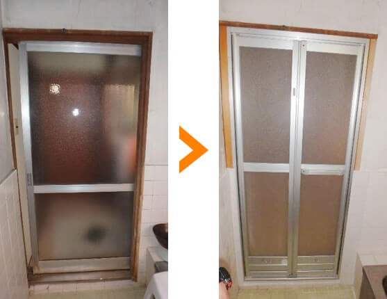浴室扉の交換
