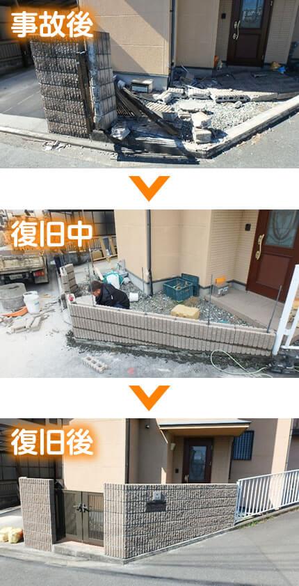 事故で崩れた塀の復旧