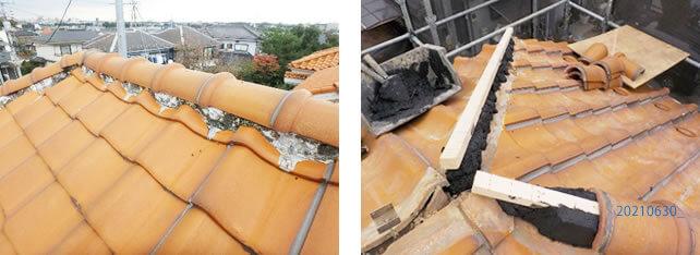 屋根の漆喰塗り替え作業